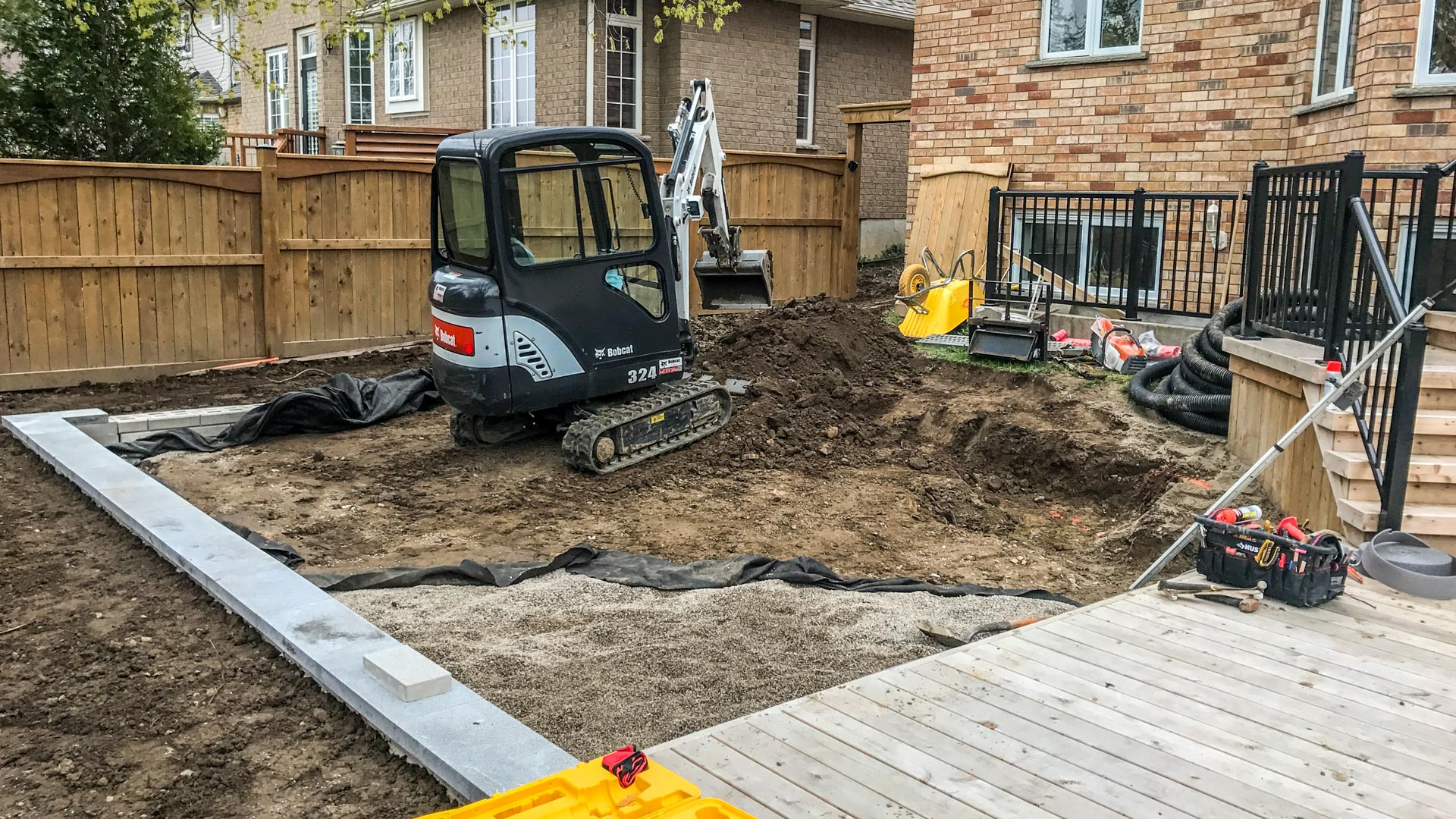Backyard Landscape During Construction