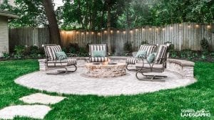 Patio- Techo-Bloc Antika & Villagio Pavers, Mini-Creta Seating Wall, Valencia Firepit