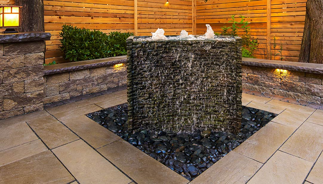 Fountain-Stacked Slate Spillway Wall
